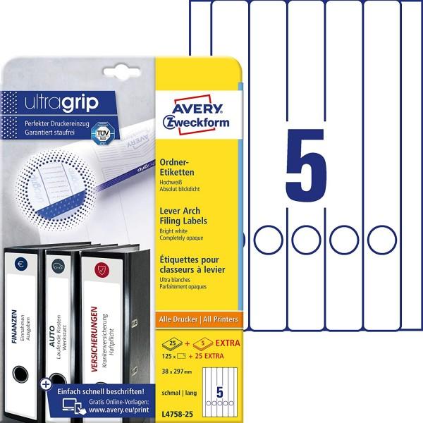 AVERY Zweckform L4758-25 Ordnerrücken Etiketten (mit ultragrip, 38 x 297 mm auf DIN A4, schmal/lang,