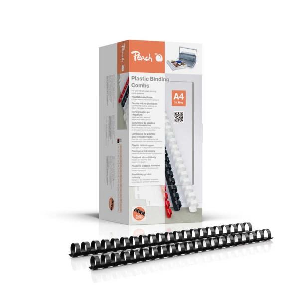 Peach PB416-02 Plastikbinderücken DIN A4, 16 mm, 145 Blatt, 100 Stück, schwarz