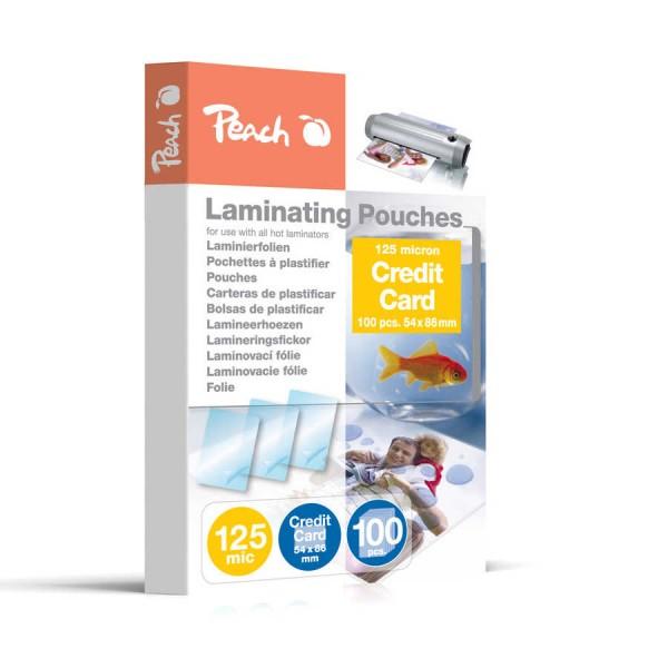 Peach PP525-07 Laminierfolien für Kreditkarten, 54 x 86 mm, 125 mic, 100 Stück