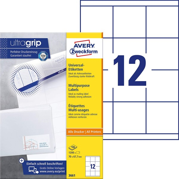 AVERY Zweckform 3661 Adressaufkleber (1.200 Klebeetiketten, 70x67,7mm auf A4, Papier matt, bedruckba