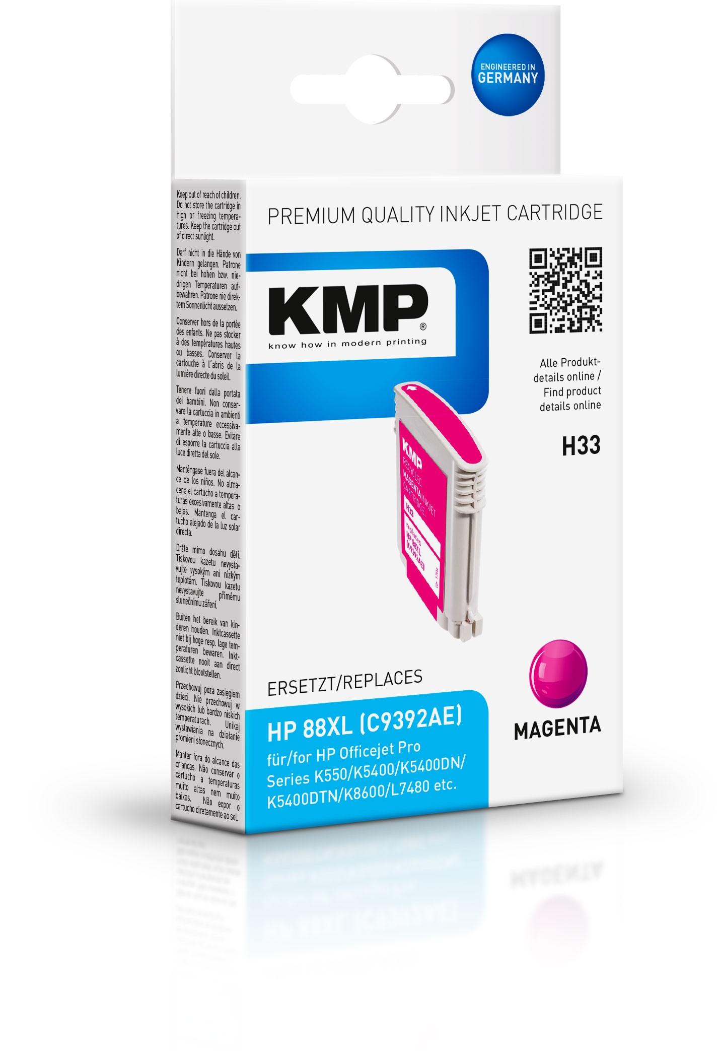 Vorschau: KMP Patrone H33 komp. C9392AE HP 88XL für HP Officejet Pro K550