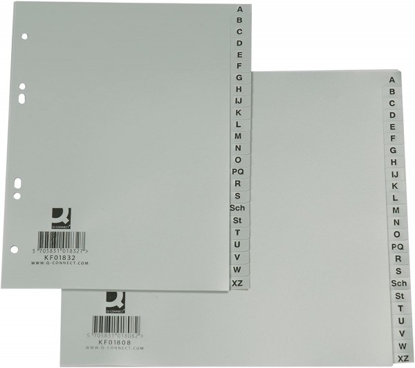 Q-Connect® Register - A - Z, PP, ohne Index, A4, 21 cm hoch, 24 Blatt, grau