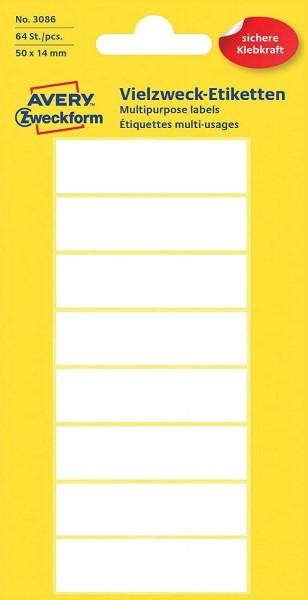 Avery Zweckform 3086 Haushaltsetiketten selbstklebend (50 x 14 mm, 64 Aufkleber auf 8 Bogen, Vielzwe