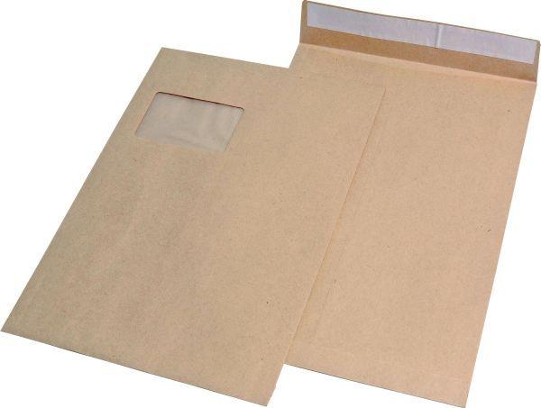 Elepa - rössler kuvert Faltentaschen C4, mit Fenster, mit 20 mm-Falte, 120 g/qm, braun, 100 Stück
