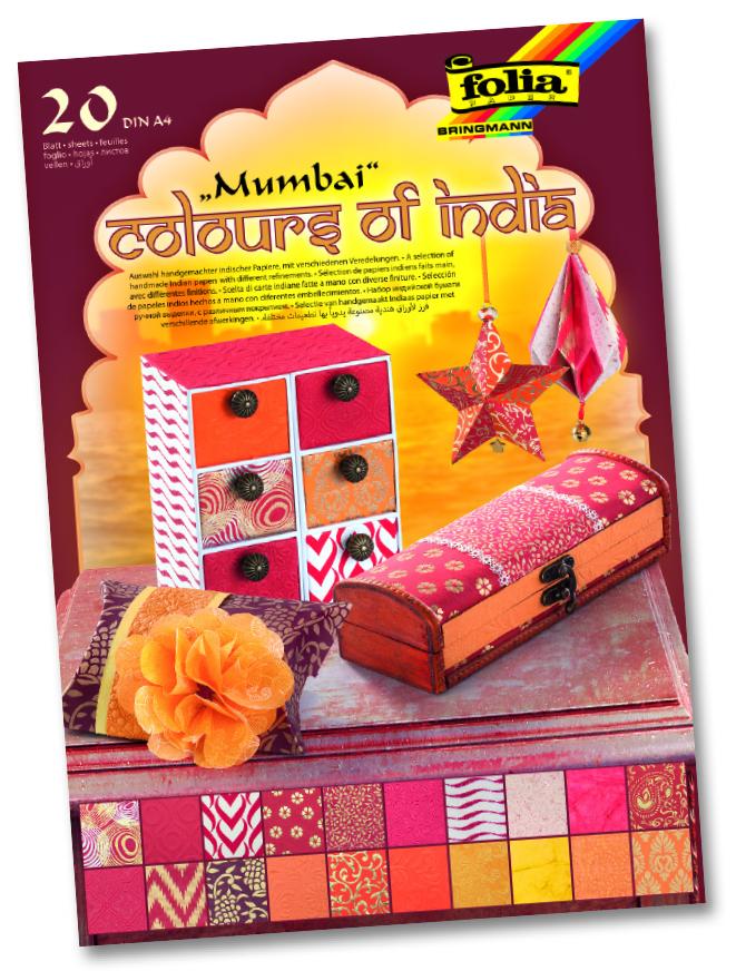 """Folia Naturpapier Block """"Colours of India"""" MUMBAI"""