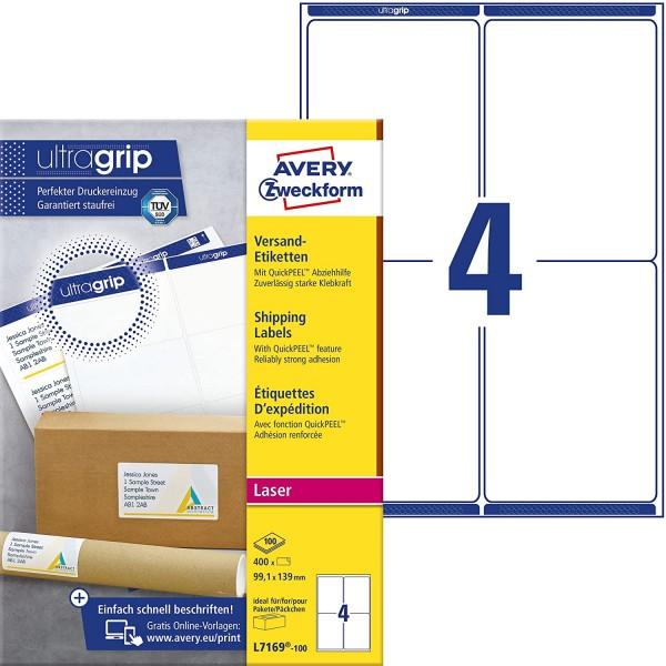 AVERY Zweckform L7169-100 Versandetiketten/Versandaufkleber (400 Etiketten mit ultragrip, 99,1x139mm
