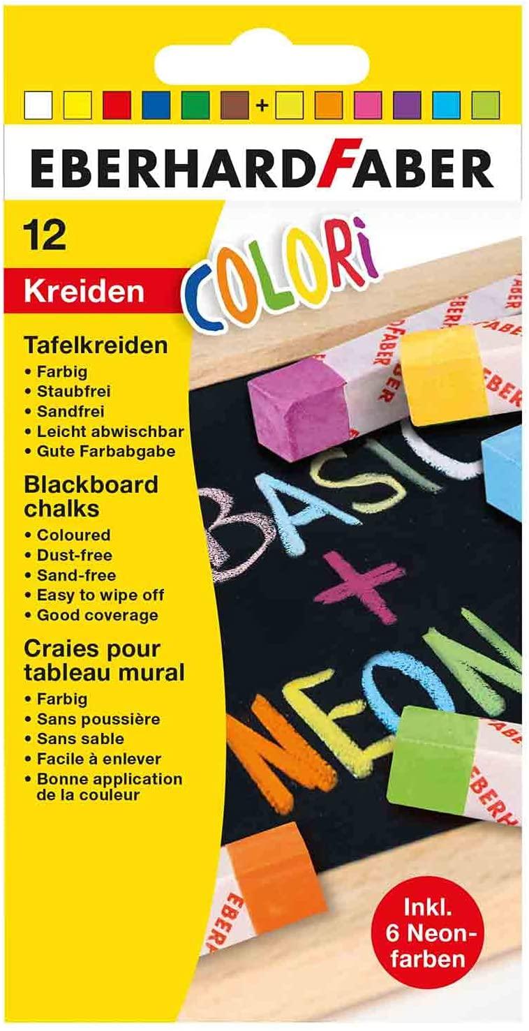 Eberhard Faber 526012 - Colori Wandtafel-Kreiden in 6 Basic und 6 Neon-Farben, im Kartonetui, leicht