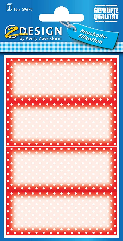 AVERY Zweckform 59670 Marmeladen Etiketten wiederablösbar 12 Aufkleber rot weiß