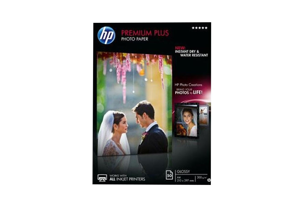 HP Premium Plus Fotopapier glänzend – 50 Blatt / DIN A4 300 g/m²