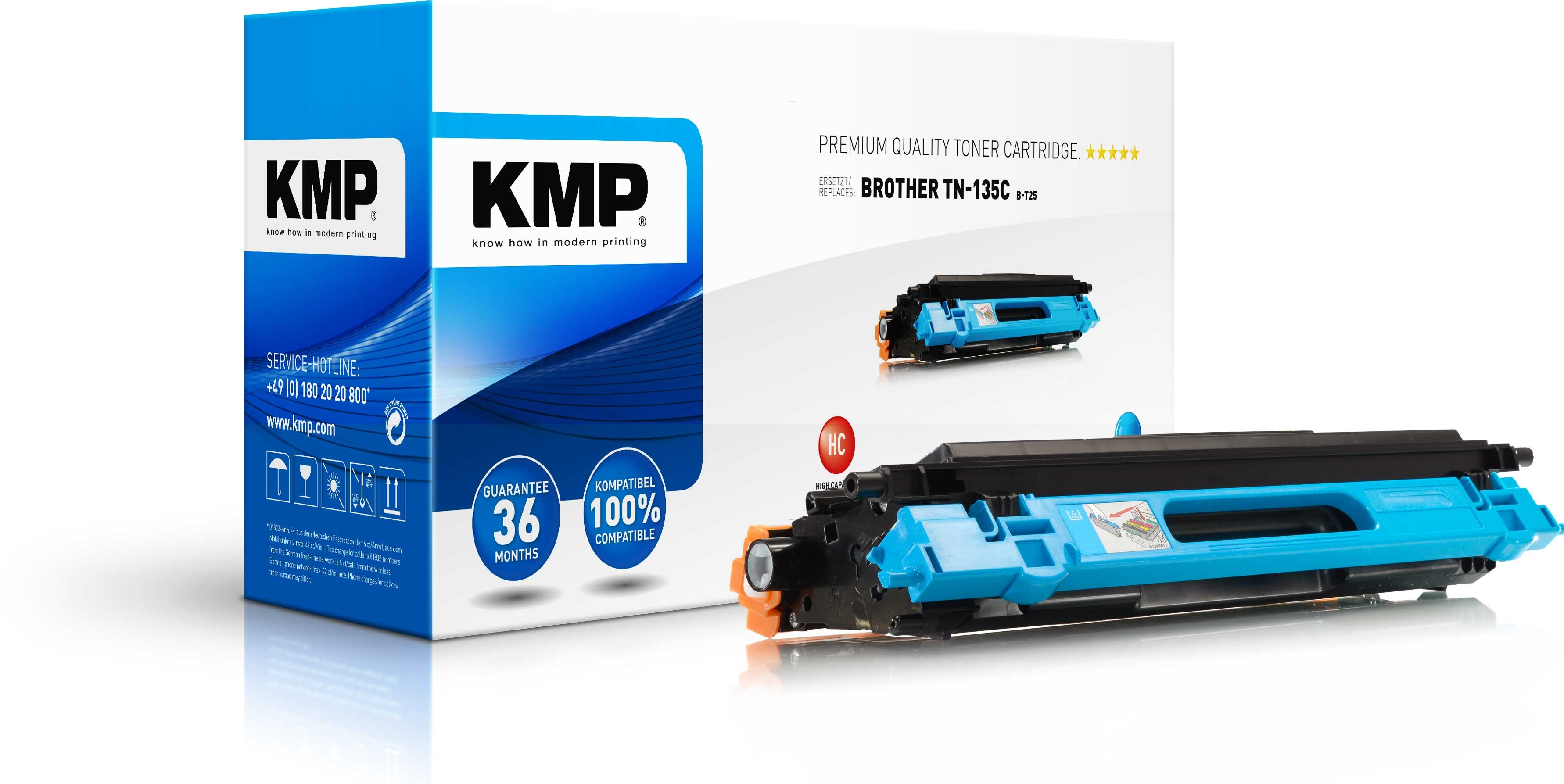 Vorschau: KMP Toner B-T25 für Brother TN-135C HL-4040 4050 4070 ... cyan