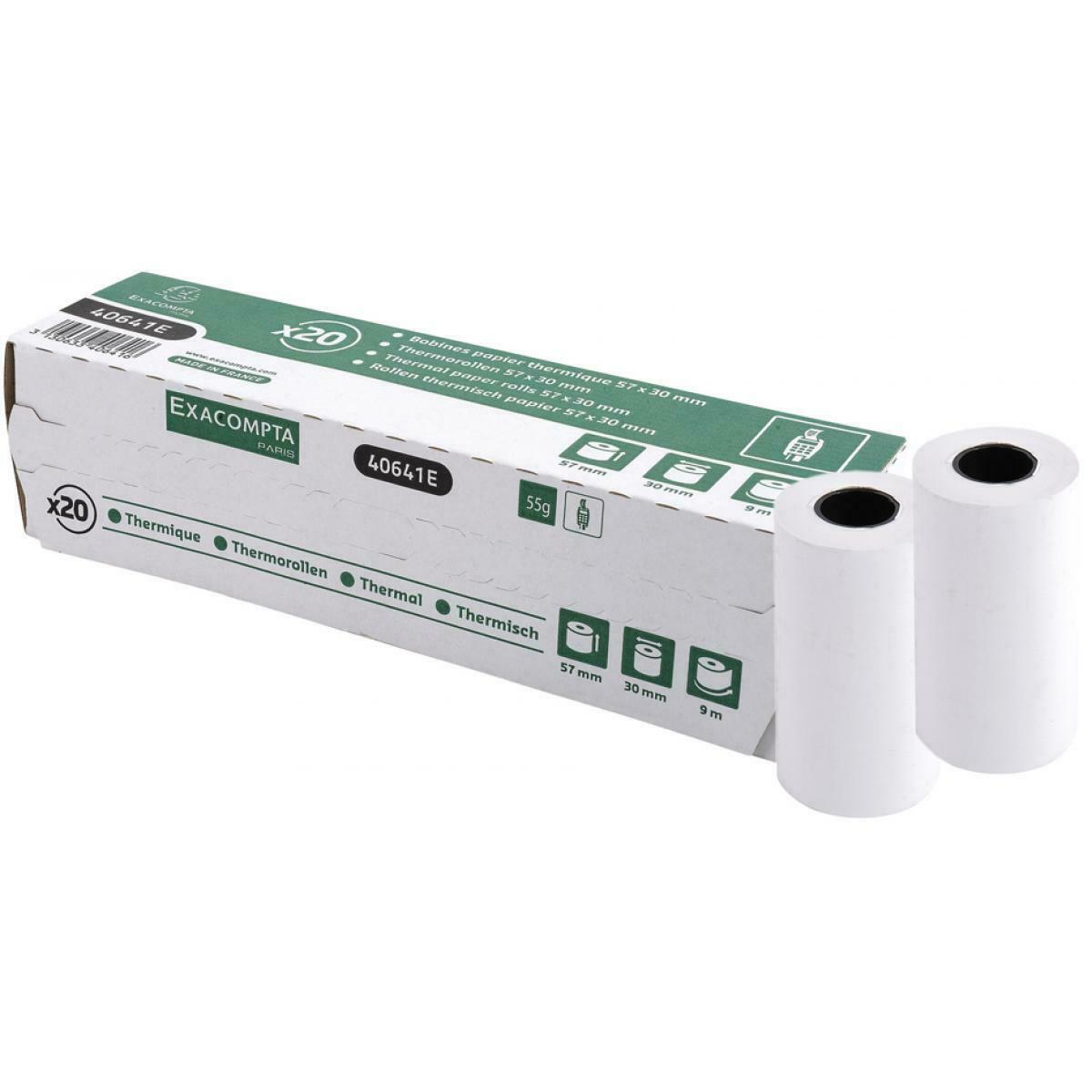 20x EXACOMPTA Thermorollen 1-lagig thermisch 55g/m² 57mm x 9m x 30mm - 40641E
