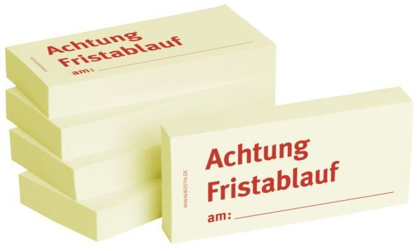 BIZSTIX Bedruckte Haftnotizen- Text: Achtung Fristablauf am