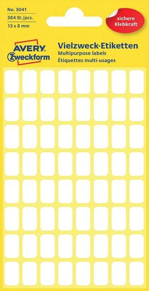 Avery Zweckform 3041 Haushaltsetiketten selbstklebend (13 x 8 mm, 384 Aufkleber auf 6 Bogen, Vielzwe