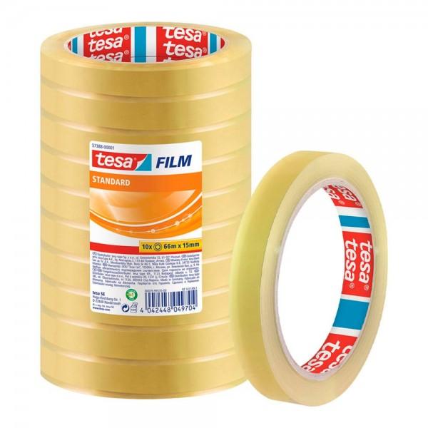 GP:0,01€/m tesa FILM Klebefilm transparent 15,0 mm x 66,0 m - 10 Rollen tesafilm