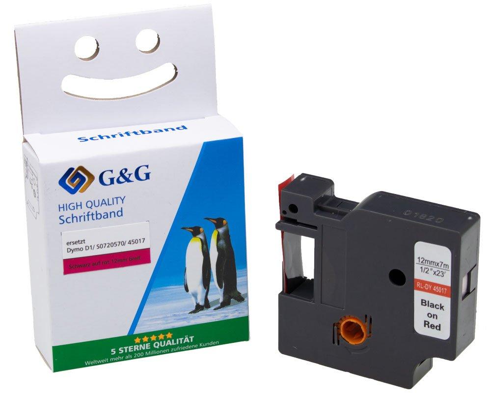 G&G Schriftband kompatibel zu Dymo D1/ 45017/ S0720570 (12mm x 7m) schwarz auf rot