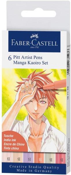 Faber-Castell 167168 - Tuschestift Pitt Artist Pen Manga Kaoiro, mit Pinselspitze in verschiedenen S