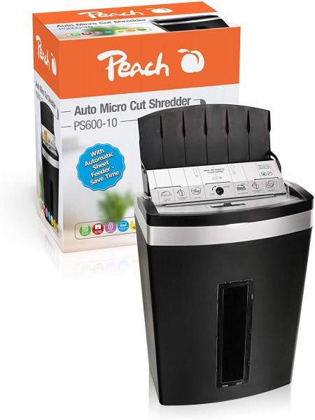 Peach PS600-10 Partikelschnitt Aktenvernichter   90 Blatt, 20 Liter   3 x 10 mm Partikel (P-5)   Aut
