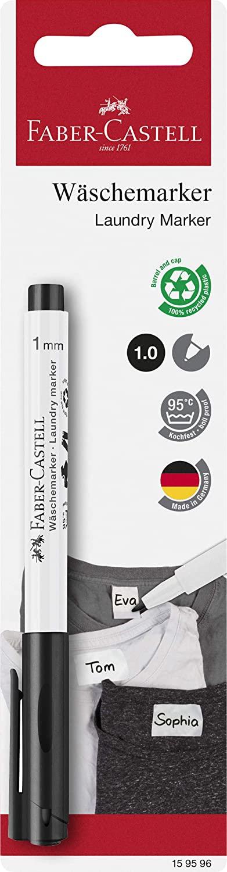 Faber-Castell 159596 - Textilmarker, 1 mm Rundspitze, bis zu 95°C waschbar, Fixierung selbständig na