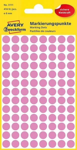 AVERY Zweckform 3111 Selbstklebende Markierungspunkte, Rosé (Ø 8 mm; 416 Klebepunkte auf 4 Bogen; Ru