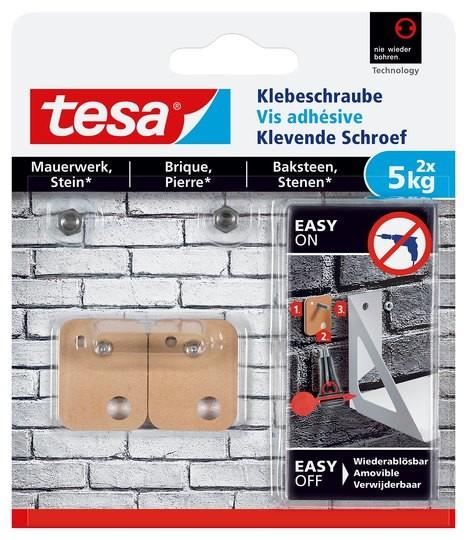 tesa Klebeschraube viereckig, Mauerwerk, 2 x 5 kg