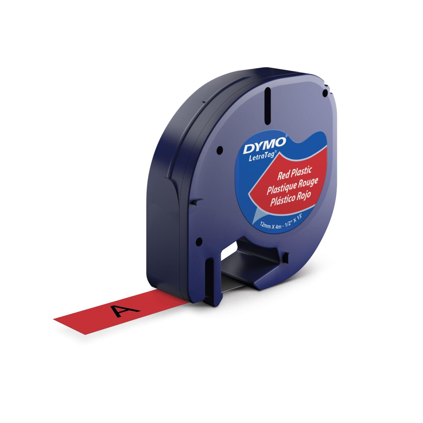 Dymo Letra Tag-Schriftband Plastik 12mm x 4m schwarz auf rot