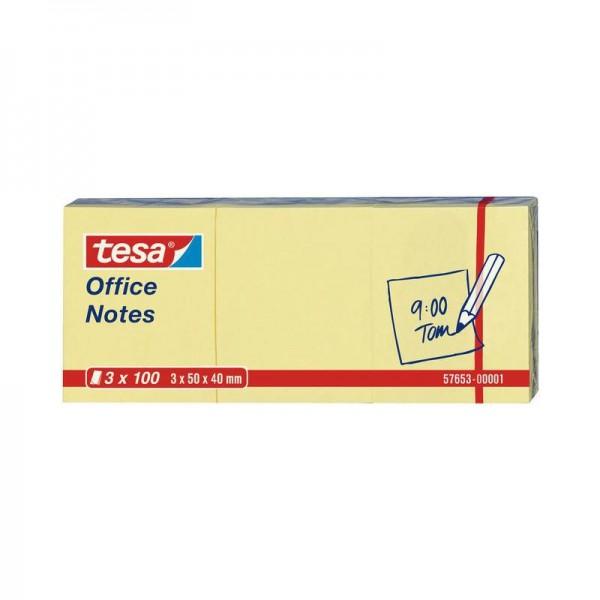 tesa Office Notes 3 x 100 Blatt, gelb 50mm x 40mm