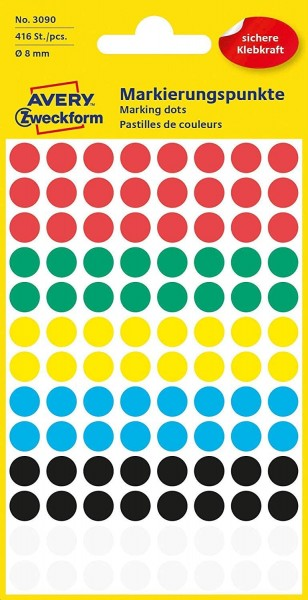 AVERY Zweckform 3090 selbstklebende Markierungspunkte 416 Stück (Ø8mm, Klebepunkte auf 4 Bogen, Punk