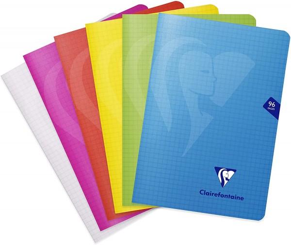 Clairefontaine 303682C Heft Mimesys DIN A5, 14,8 x 21cm, 48 Blatt, kariert, 1 Stück, farbig sortiert