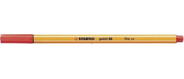 STABILO® Fineliner point 88®, mit Kappe, 0,4 mm, Schreibfarbe: rot (10 Stück)