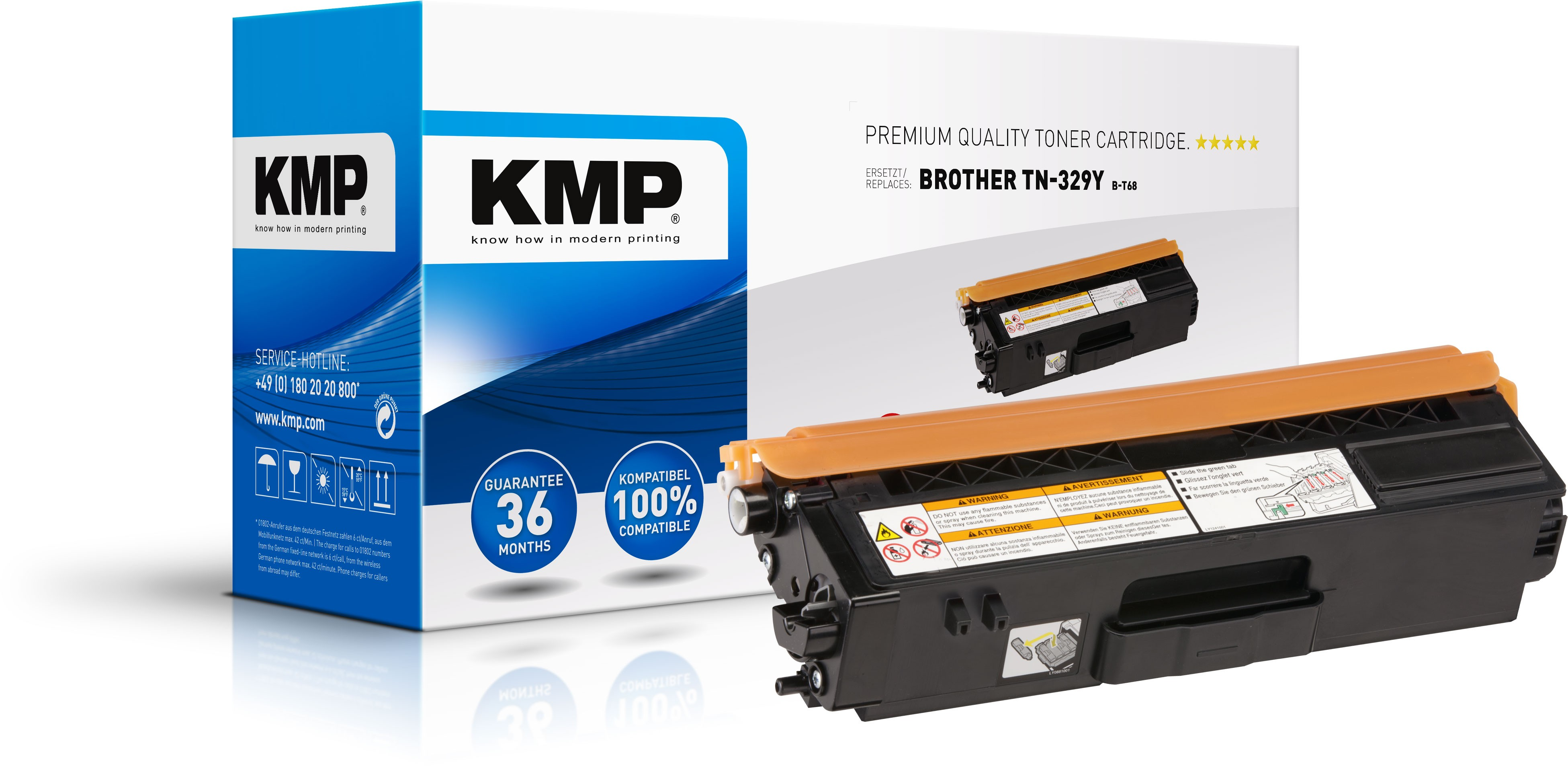 KMP Toner B-T68 für Brother TN329Y  HL-L8350CDW etc. yellow