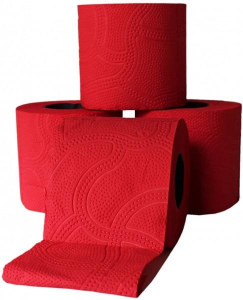 Renova Designer Toilettenpapier 3 lagig ROT farbiges Toilettenpapier (64 Rollen)