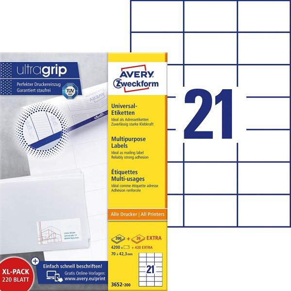 AVERY Zweckform 3652-200 Adressaufkleber (4.200 plus 420 Klebeetiketten extra, 70x42,3mm auf A4, bed