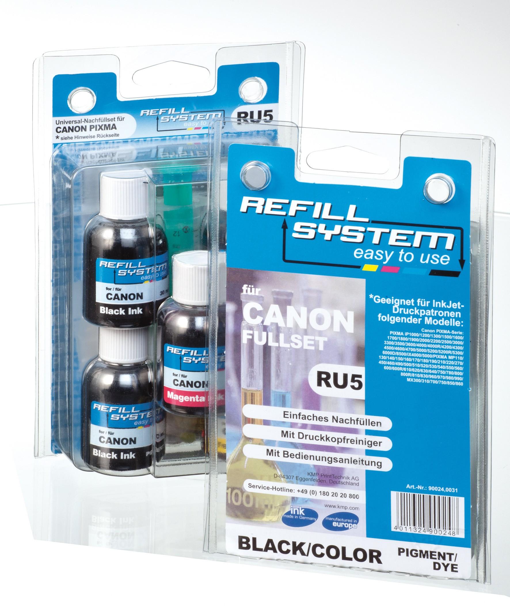 KMP Refill-System RU5 für Canon Pixma Serie Fullset