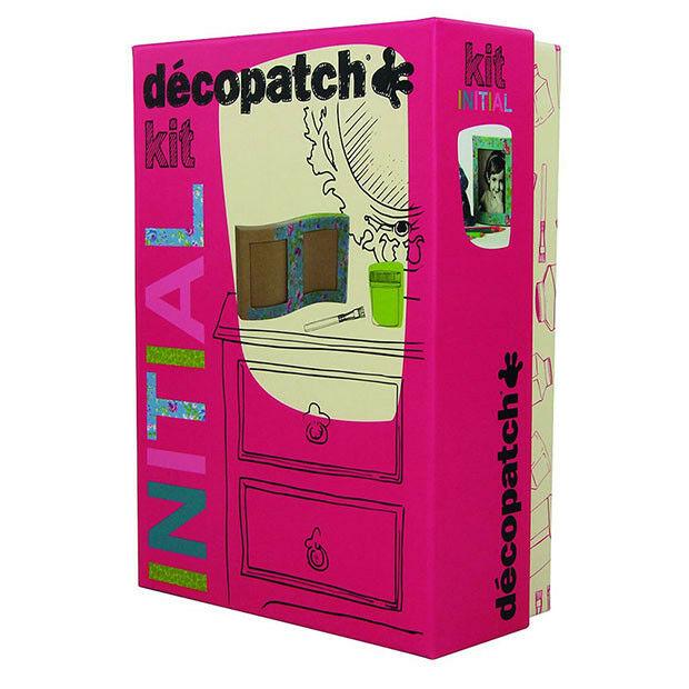 Décopatch KIT005O Initial Kit (mit 2 Bögen Papier 1 Pinsel, 1 Bilderrahmen (aus Pappmaché zum Verzie