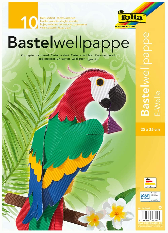 folia 740409 - Bastel Wellpappe, E-Welle, ca. 25 x 35 cm, 10 Bogen sortiert in 10 verschiedenen Farb