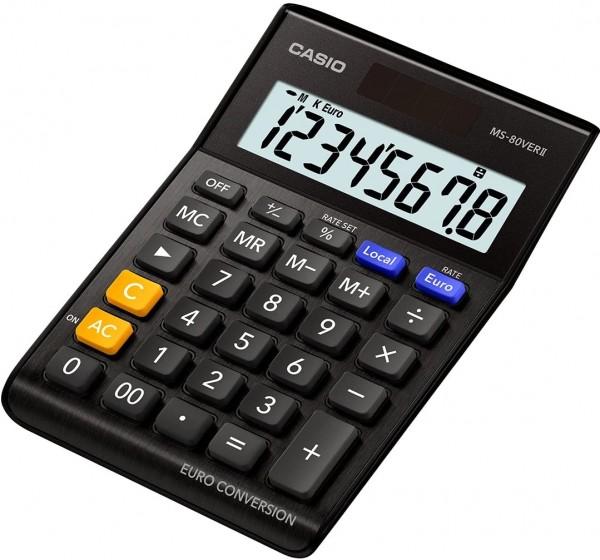 Casio MS-80VERII-BK Euro Tischrechner Extra big LC-Display schwarz
