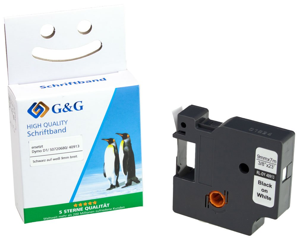 G&G Schriftband kompatibel zu Dymo D1/ 40913/ S0720680 (9mm x 7m) schwarz auf weiß