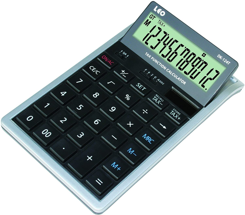 LEO DK-124T Tischrechner 12-stellig silber/schwarz LCD Display Solar und Batteriebetrieb