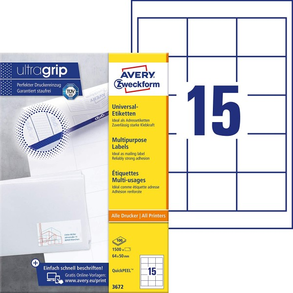 AVERY Zweckform 3672 Adressaufkleber (1.500 Klebeetiketten, 64x50mm auf A4, Papier matt, individuell