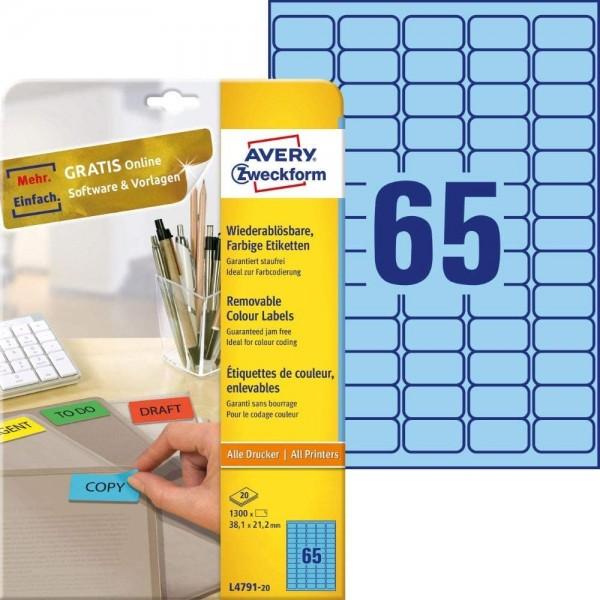 AVERY Zweckform L4791-20 Blaue Etiketten (1.300 Aufkleber, 38,1x21,2 mm auf A4, wieder rückstandsfre
