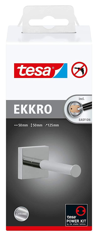 Tesa ekkro Ersatzrollenhalter (NICHT BOHREN, hochglanzverchromt, inkl. Klebelösung, hohe Haltekraft