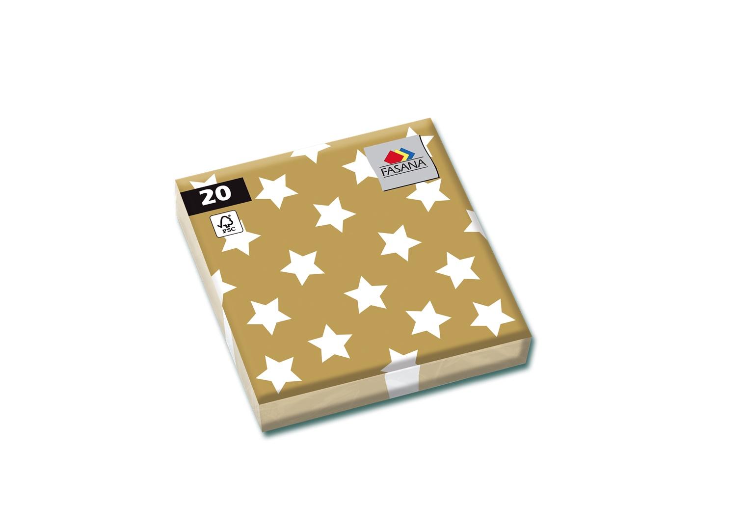 Fasana Servietten 33 x 33 cm 1/4 Falzung 20 Stück Sterne
