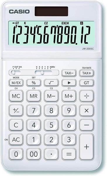 Casio JW-200SC-WE eleganter Tischrechner, 12-stellig, in sieben Farbvarianten