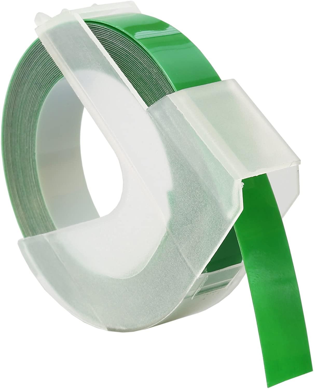 Dymo-Prägeetiketten (selbstklebend, 9 mm x 3 m) weiß auf grün