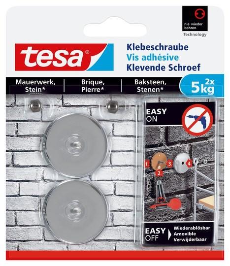 tesa Klebeschraube für Mauerwerk und Stein, Halteleistung 5 kg, rund, 2 Stück
