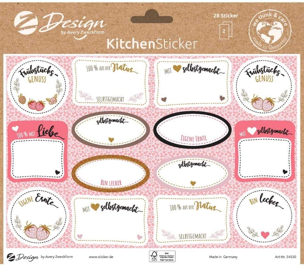 AVERY Zweckform 54550 Marmeladenetiketten 28 Aufkleber Mit Liebe gemacht (Sticker auf A5 Bogen, besc