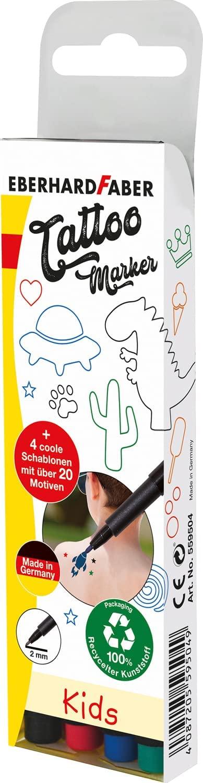 Eberhard Faber 559504 - Tattoostifte Set Kids mit 4 Markern in unterschiedlichen Farben und 4 Schabl