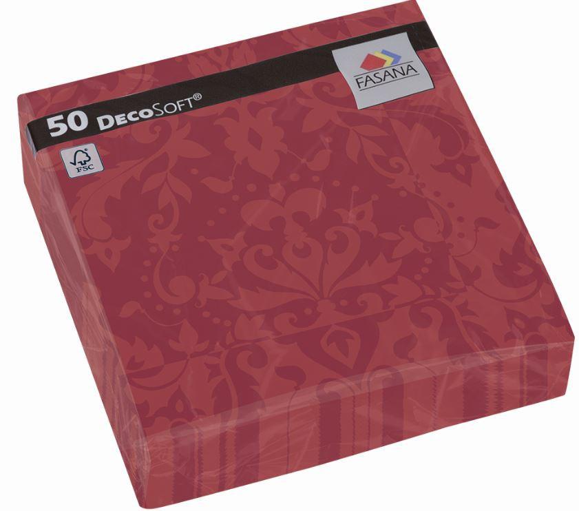 Fasana Servietten 40 x 40 cm 1/4 Falzung 50 Stück velvet bordeaux mit Muster