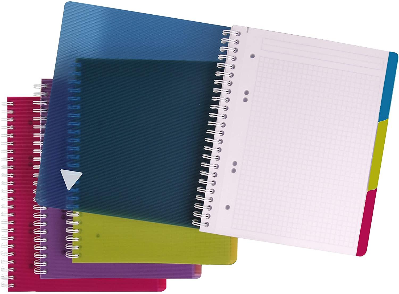 Clairefontaine 329755C5 5er Pack Spiralbuch Evolutiv Book A5+ 90 Blatt kariert mit Rand farbig sorti