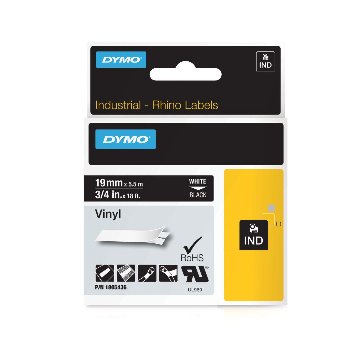 Dymo Rhino-Schriftband Vinyl 19mm x 5,5m weiß auf schwarz